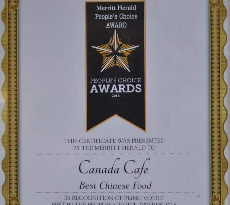 Best Chinese food Merritt BC award