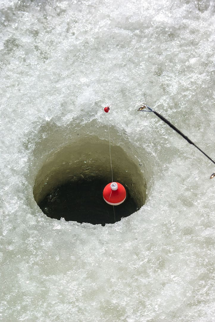 ice fishing on Merritt, BC lakes
