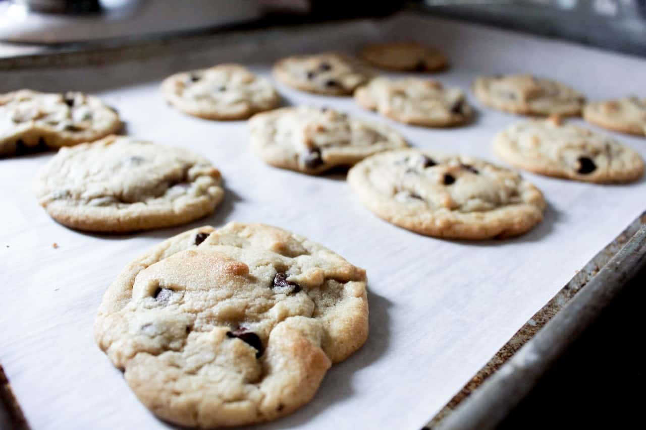 Fresh baked large chocolate chip cookies