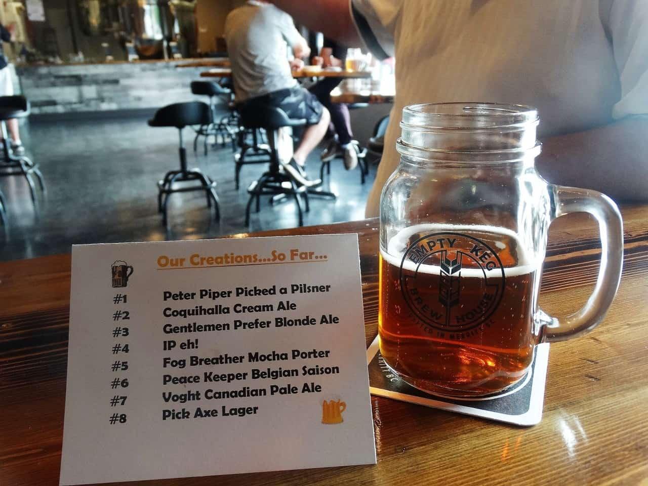 Empty Keg Craft Beer in Merritt BC